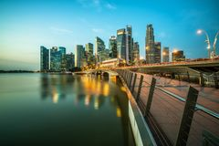 Singapore central business district skyline at blue hour. Singapore skyline at night. Singapore central business district skyline, blue sky and night skyline Stock Photos