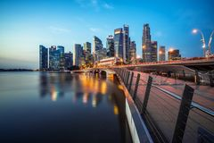 Singapore central business district skyline at blue hour. Singapore skyline at night. Singapore central business district skyline, blue sky and night skyline Royalty Free Stock Photos