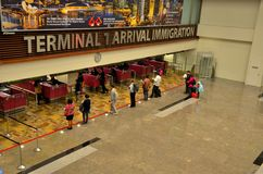 Singapore Changi airport arrival immigration counters Royalty Free Stock Images