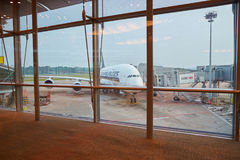 Singapore Changi Airport. SINGAPORE - CIRCA AUGUST, 2016: Airbus A380-800 on the tarmac in Changi Airport. Singapore Changi Airport, is the primary civilian Stock Images