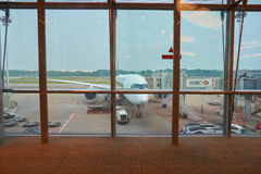 Singapore Changi Airport. SINGAPORE - CIRCA AUGUST, 2016: a commercial aircraft on the tarmac in Changi Airport. Singapore Changi Airport, is the primary Royalty Free Stock Image