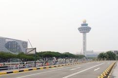 Singapore Changi Airport during 2015 South East Asia Haze Crisis. Hazy skies at Singapore's Changi International Airport during the 2015 South East Asia Haze Stock Photos