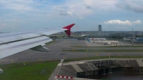 Singapore Changi för flyg- sikt flygplats stock video