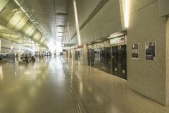 Singapore Changi International Airport MRT station. Changi Airport, is the primary civilian airport for Singapore, and one of the largest transportation hubs in Royalty Free Stock Image