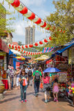 Singapore China Town. SINGAPORE - FEB 19: Unidentified tourists are shopping at Singapore China Town on Feb 19, 2014, Singapore. Singapore's Chinatown is a world royalty free stock image