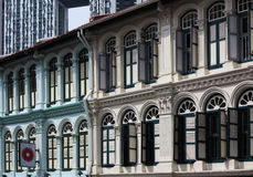 Singapore China Town,Windows. View of China Town historic building,Singapore royalty free stock image