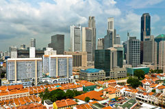 Singapore Chinatown and Business District Royalty Free Stock Photo