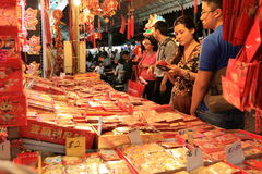 Singapore Chinatown Chinese Lunar New Year shoppin Royalty Free Stock Photos