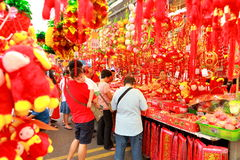 Singapore Chinatown Chinese Lunar New Year shoppin Stock Images