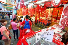 Singapore Chinatown Chinese Lunar New Year shoppin Royalty Free Stock Image