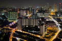Singapore Chinatown Cityscape at Night Stock Image
