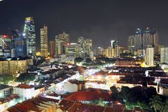 Singapore Chinatown na noite Fotografia de Stock Royalty Free