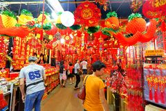 Singapore : Chinese Lunar New Year shopping Stock Images