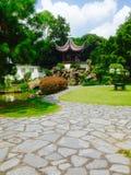 Pavilion in garden stock image