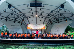 Singapore Chinese Orchestra. The performance of Singapore Chinese Orchestra during the Outdoor Rhapsody 2011 on a Shaw Foundation Symphony Stage in Singapore Stock Photography
