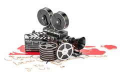 Singapore cinematography, film industry concept. 3D rendering. Isolated on white background Royalty Free Stock Photography