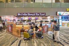 Changi Airport. SINGAPORE - CIRCA NOVEMBER, 2015: The Coffee Bean & Tea Leaf at Singapore Changi Airport. Changi Airport  is the primary civilian airport for Royalty Free Stock Photos