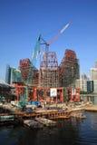 Singapore City. Modern skyscraper under construction with crane,Singapore Marina Bay royalty free stock photo