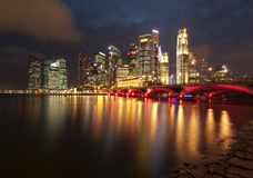 Singapore city. Skyline of Singapore city at night Stock Photo