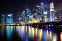 Singapore city. With modern buildings at night Stock Photography