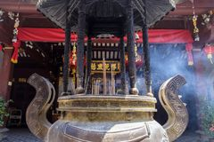 Shrine Singapore. Singapore City, Singapore, August 8, 2017: Incense burning at a the buddhist temple Thian Hock Keng Temple, Singapore royalty free stock photo