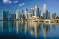 Singapore city and building in day time with water flont and ref Royalty Free Stock Photography