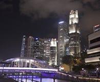 Singapore city center by night Royalty Free Stock Photo