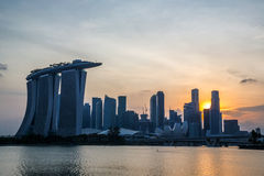 Singapore city downtown sunset Stock Image