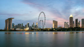 Singapore city in dramatic twilight, Asia. Stock Images