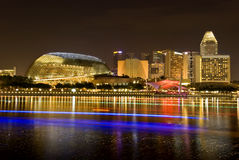 Singapore City Evening Skyline. Night view of Esplanade Theaters on the bay Royalty Free Stock Photos