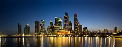Singapore City Evening Skyline Stock Image