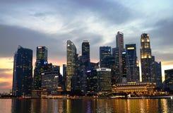 Singapore City Evening Skyline Stock Photos
