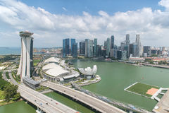 Singapore city in financial district area Royalty Free Stock Photos