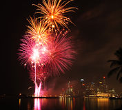 Singapore city fireworks Stock Images