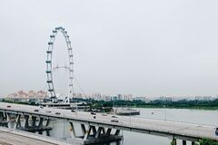 Singapore City Flyer and skyline Royalty Free Stock Photo