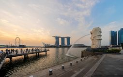 Singapore City - July 29, 2018 : Merlion and Marina Bay Sands at. Sunrise with Singapore Flyer and twilight sky Royalty Free Stock Photos
