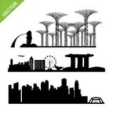 Singapore city landmark silhouettes vector Stock Photos
