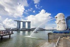 Singapore City Landmarks Merlion and Marina Bay Sands Hotel Royalty Free Stock Photography