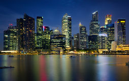Singapore city. Landscape of Singapore city on night Stock Photos