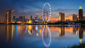 Singapore city. Landscape of Singapore city with sun set Royalty Free Stock Photo