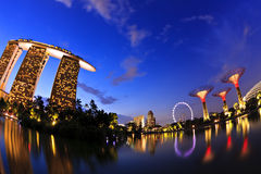 Singapore - City of Light. All the landscape in singapore full of beautiful light, beautiful building, on the  left Marina Bay Sand, and on the right is Garden Stock Image