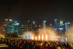 Singapore City at Night Stock Image