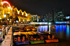 Singapore City by Night. Clarke Quay in Singapore at Night Stock Images