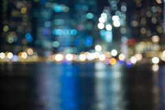 Singapore city night lights blurred bokeh Stock Photos