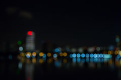 Singapore city night lights blurred bokeh Royalty Free Stock Image