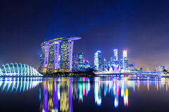 Singapore city at night Royalty Free Stock Images
