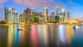 Singapore city. Panorama view of the financial district and business office building in singapore city Royalty Free Stock Photos