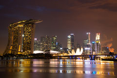 Singapore city. A photo of singapore skyline in a twilight  sky Royalty Free Stock Images