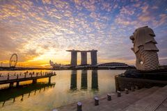 SINGAPORE CITY, SINGAPORE: Sep 29,2017: Singapore Skyline. Singapore`s business district, marina bay sand and the garden by the b. Ay on sunrise royalty free stock image
