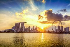 SINGAPORE CITY, SINGAPORE: Sep 29,2017: Singapore Skyline. Singapore`s business district, marina bay sand and the garden by the b. Ay on sunset royalty free stock photos